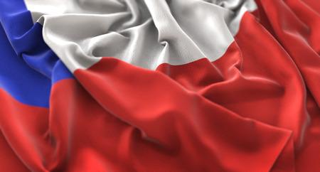 bandera chilena: Chile Flag Ruffled Beautifully Waving Macro Close-Up Shot