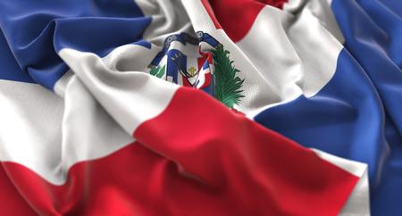도미니카 공화국 플래그 아름 답게 흔들며 매크로 근접 촬영 뻗