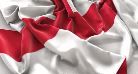 Vlag van Engeland verstoorde prachtig zwaaien Macro close-up opname