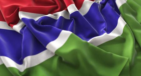 The Gambia Flag Ruffled Beautifully Waving Macro Close-Up Shot