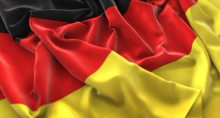 Deutschland Flagge gekräuselt schön winken Makro Nahaufnahme Schuss Standard-Bild - 80737291