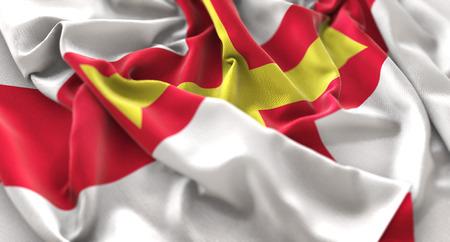 Guernsey Flag Ruffled Beautifully Waving Macro Close-Up Shot