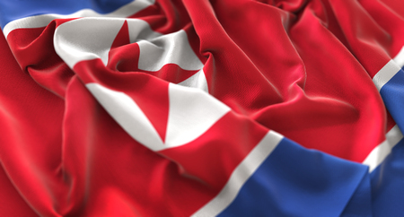 North Korea Flag Ruffled Beautifully Waving Macro Close-Up Shot