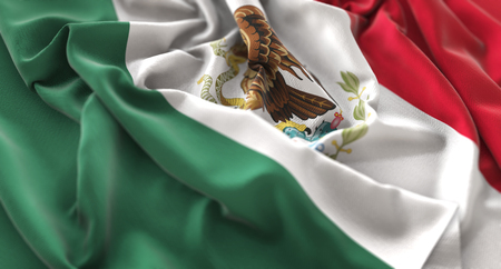 Mexico Flag Ruffled Beautifully Waving Macro Close-Up Shot Stock Photo - 80737388
