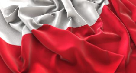 Poland Flag Ruffled Beautifully Waving Macro Close-Up Shot