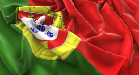 Portugal Flag Ruffled Beautifully Waving Macro Close-Up Shot Stock Photo