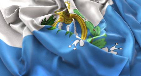 San Marino Flag Ruffled Beautifully Waving Macro Close-Up Shot