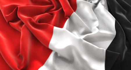 Principality of Sealand Flag Ruffled Beautifully Waving Macro Close-Up Shot