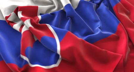 Slovakia Flag Ruffled Beautifully Waving Macro Close-Up Shot