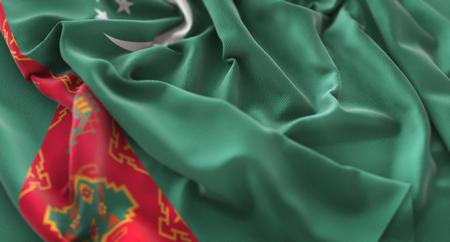 Turkmenistan Flag Ruffled Beautifully Waving Macro Close-Up Shot