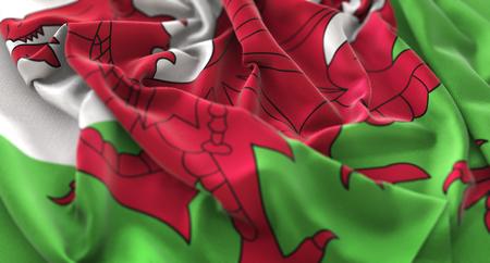 Wales Flag Ruffled Beautifully Waving Macro Close-Up Shot Stock Photo