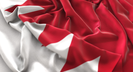 Bahrain Flag Ruffled Beautifully Waving Macro Close-Up Shot Stock Photo