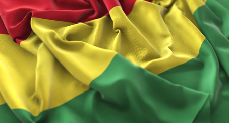Bolivia Flag Ruffled Beautifully Waving Macro Close-Up Shot