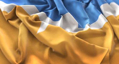 tierra del fuego: Tierra del Fuego Flag Ruffled Beautifully Waving Macro Close-Up Shot