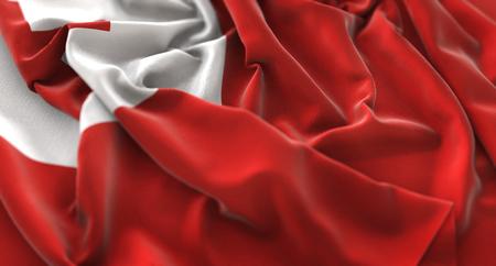 Tonga Flag Ruffled Beautifully Waving Macro Close-Up Shot