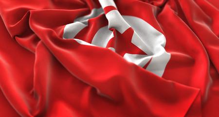 Tunisia Flag Ruffled Beautifully Waving Macro Close-Up Shot