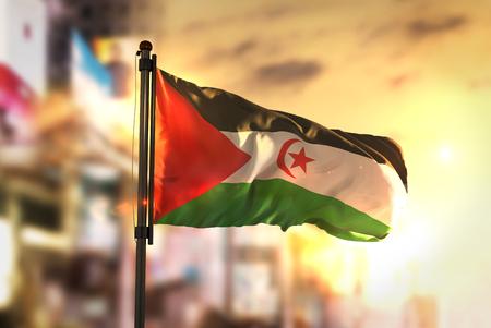 Sahrawi Flag Against City Blurred Background At Sunrise Backlight Stock Photo