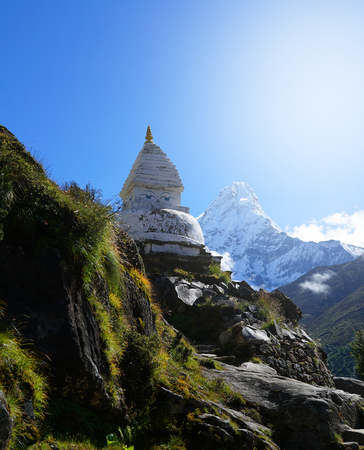 Temple The Eyes of Buddha Beside Ama Dablam  Mountain, Everest Base Camp Trek From Tengboche to Dingboche , Nepal