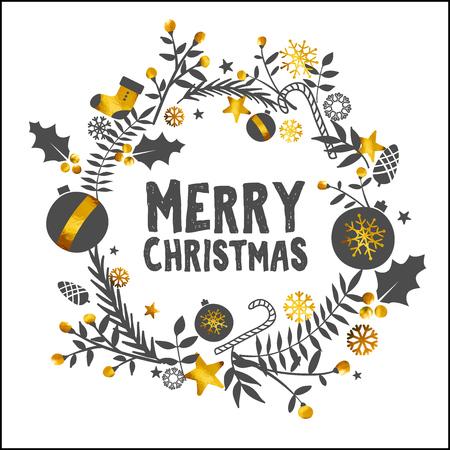 Merry Christmas Golden White Ornament Card