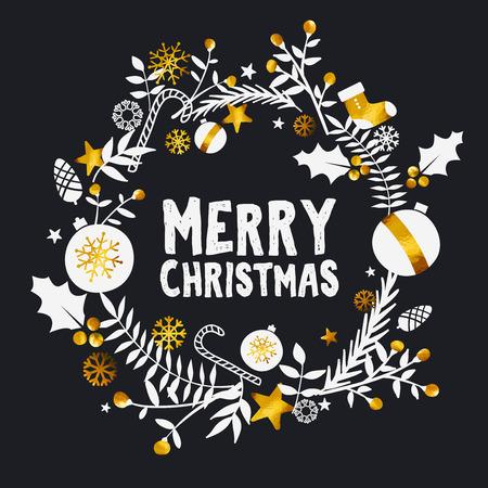 Merry Christmas Golden Dark Ornament Card Illustration