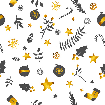 Christmas Ornament Seamless Pattern Gold White Background