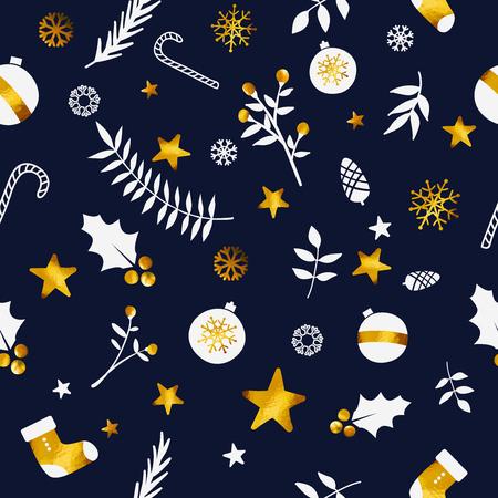 Christmas Ornament Seamless Pattern Gold Dark Blue Navy Background