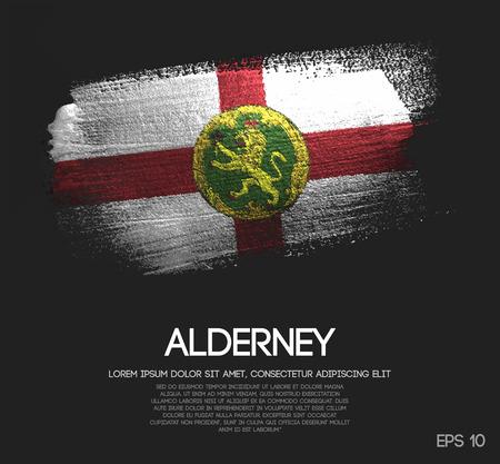 Alderney Flag Made of Glitter Sparkle Brush Paint Vector