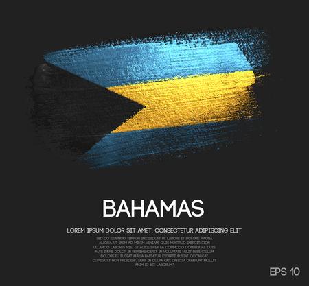 The Bahamas Flag Made of Glitter Sparkle Brush Paint Vector Illustration