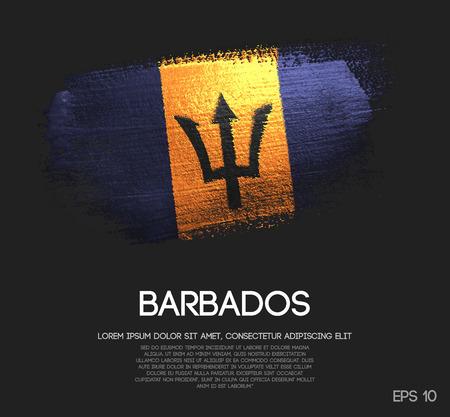 Drapeau de la Barbade en vecteur de peinture pinceau scintillant scintillant Vecteurs