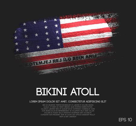 Bikini Atoll Flag Made of Glitter Sparkle Brush Paint Vector Ilustração