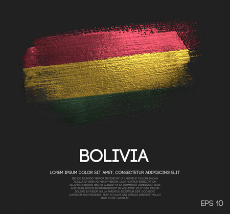 Bolivia Flag Made of Glitter Sparkle Brush Paint Vector  イラスト・ベクター素材