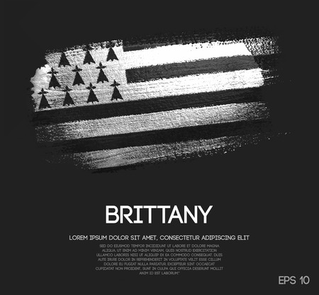 Brittany Flag Made of Glitter Sparkle Brush Paint Vector 矢量图像