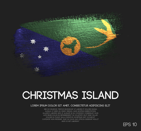Christmas Island Flag Made of Glitter Sparkle Brush Paint Vector