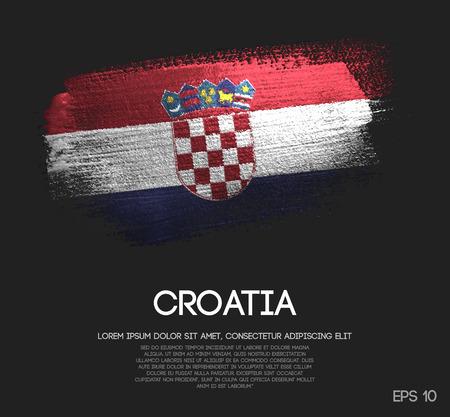 Croatia Flag Made of Glitter Sparkle Brush Paint Vector Illustration