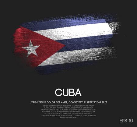 Cuba Flag Made of Glitter Sparkle Brush Paint Vector Vector Illustration