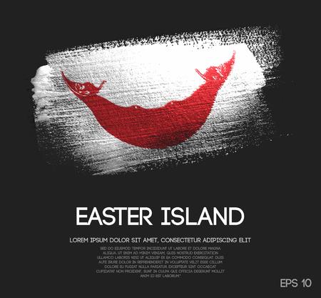 Easter Island Flag Made of Glitter Sparkle Brush Paint Vector Illustration