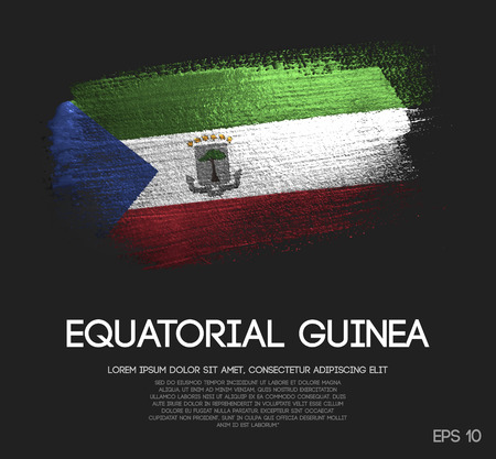 Equatorial Guinea Flag Made of Glitter Sparkle Brush Paint Vector