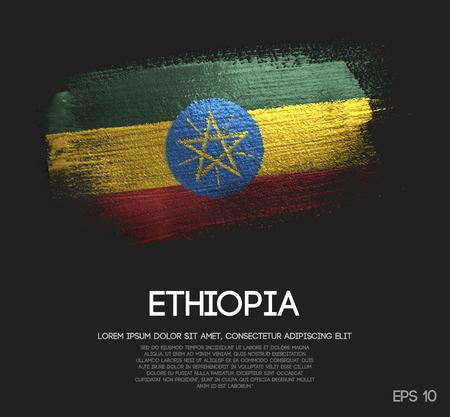 Ethiopia Flag Made of Glitter Sparkle Brush Paint Vector