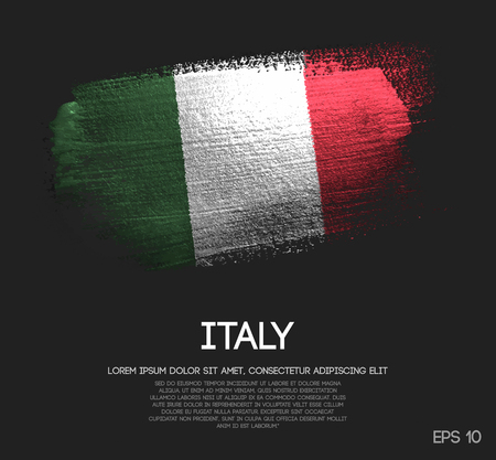 Bandera de Italia hecha de brillo Sparkle Brush Paint Vector