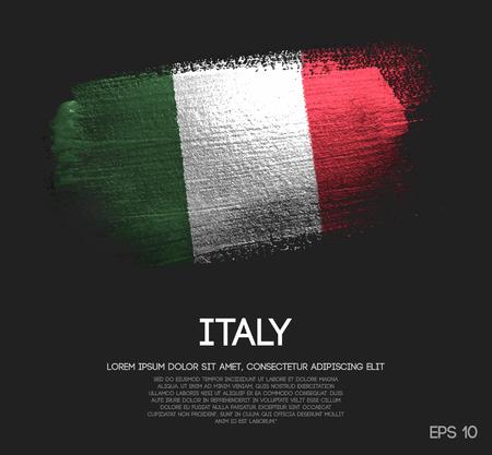 Drapeau de l'Italie fait de vecteur de peinture de brosse scintillante scintillante