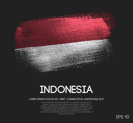 Vlag van Indonesië gemaakt van Glitter Sparkle Brush Paint Vector Vector Illustratie