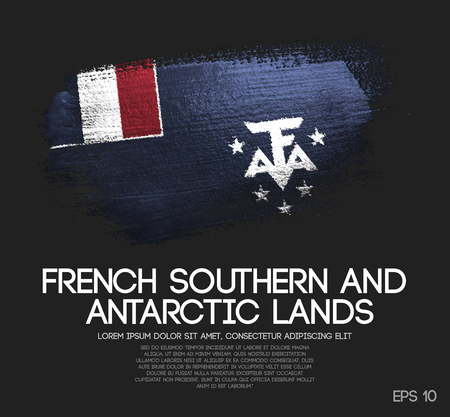French Southern Flag Made of Glitter Sparkle Brush Paint Vector Vettoriali