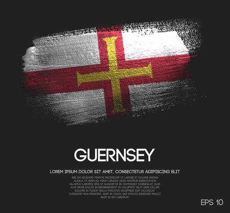 Guernsey Flag Made of Glitter Sparkle Brush Paint Vector