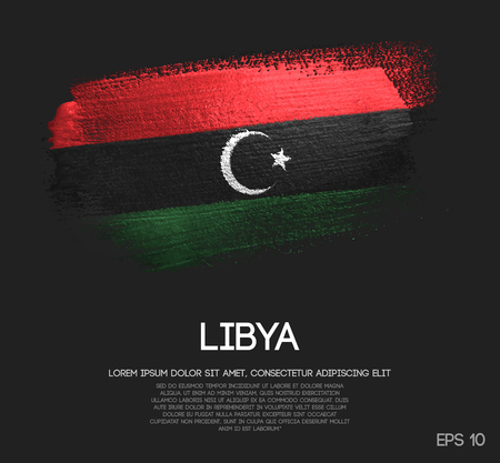 Libya Flag Made of Glitter Sparkle Brush Paint Vector