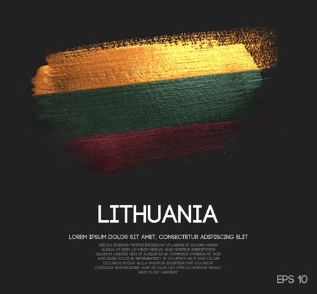 Lithuania Flag Made of Glitter Sparkle Brush Paint Vector 向量圖像