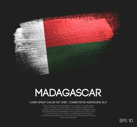 Madagascar Flag Made of Glitter Sparkle Brush Paint Vector