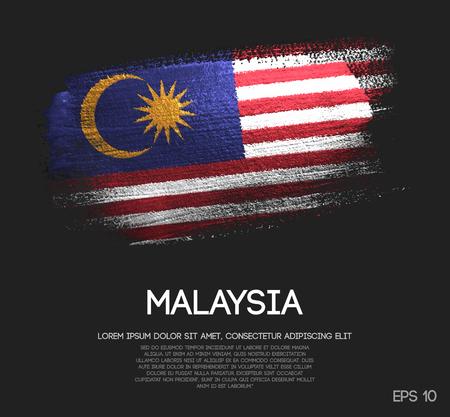 Vlag van Maleisië gemaakt van Glitter Sparkle Brush Paint Vector Vector Illustratie