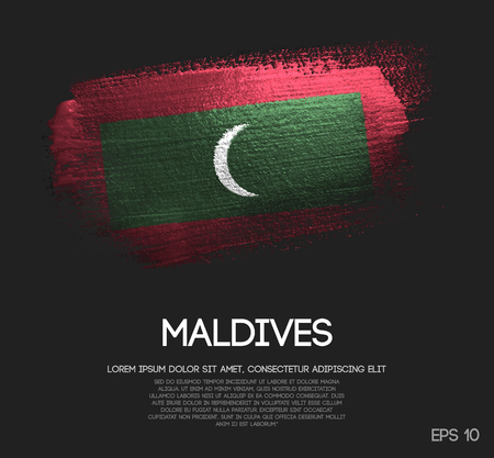 Maldives Flag Made of Glitter Sparkle Brush Paint Vector  イラスト・ベクター素材