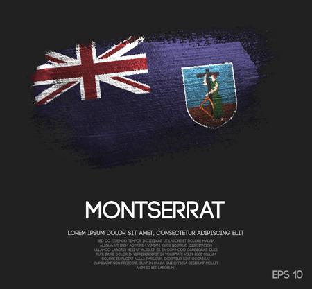 Montserrat Flag Made of Glitter Sparkle Brush Paint Vector