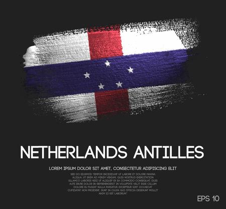 Netherlands Antilles Flag Made of Glitter Sparkle Brush Paint Vector